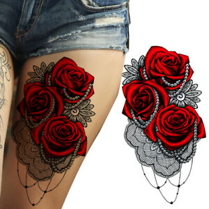 Details about RED ROSES PEARLS FLOWER TEMPORARY TATTOOS WOMEN ARM LEGS  HALLOWEEN WATERPROOF