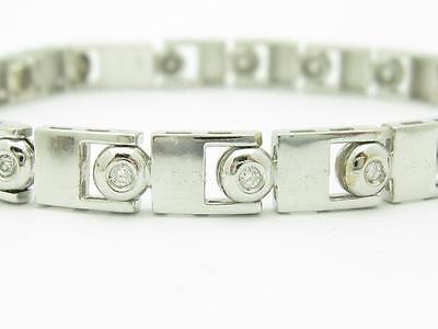 14kt White Gold Genuine Diamond Bezel Design Modern Tennis Bracelet New Gift