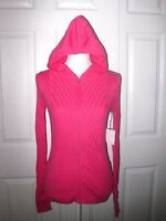 Skyr Running Active Sweater Zip Athletic Knit Cotton Blend Hoodie Pink Sz S