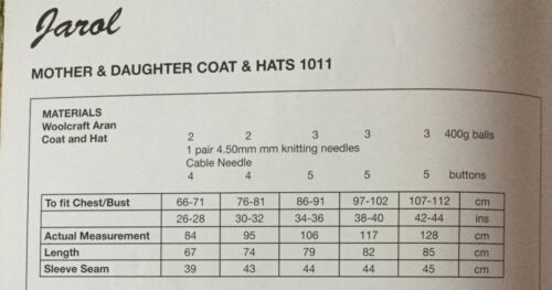 Jarol Woolcraft Aran knitting pattern 1011 coat /& Hat 26-44 ins
