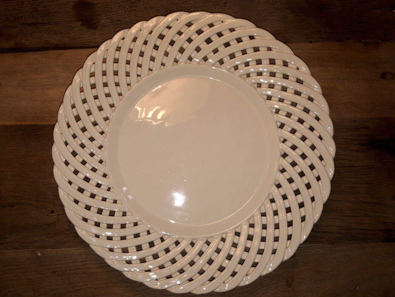 Berardos Keramik Portugal Teller Schale Obstschale creme weiß geflochten