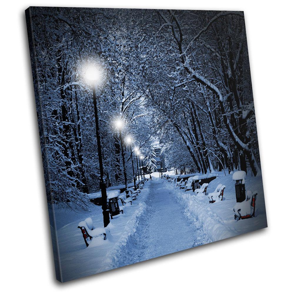 Snow Scene park Landscapes SINGLE TOILE murale ART Photo Print