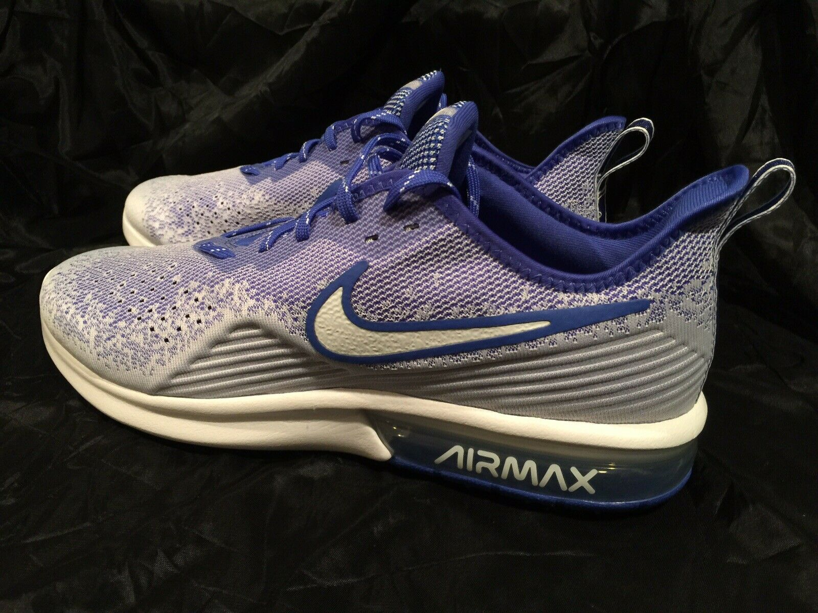 Nike Men's Air Max Sequent 4 Running shoes White bluee Size 13 AO4485-104