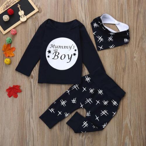3pcs Toddler Infant Baby Kids Boys Letter Tops+Pants+Bibs Outfits Clothes Set
