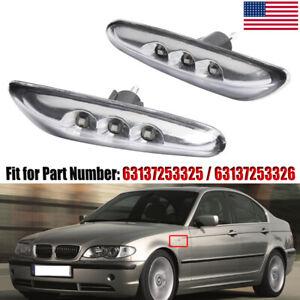 Pair-LED-Side-Marker-Lights-Turn-Signals-For-BMW-E82-E83-E46-E60-E61-E90-E91-E92