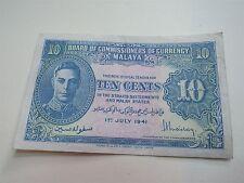 Malaya George VI 10 Cents 1941 (myrefn52BN)