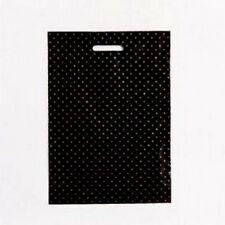 20 sacs plastique poignée découpé L34 x P4/4 x H48 cm.noir, fleur doré,50 micron