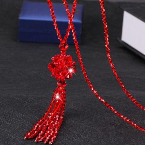 Damen Amethyst Kristall Strass Quaste Anhänger Halskette Langer Pullover Kette