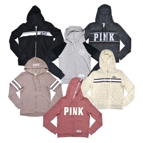 Victoria/'s Secret Pink Hoodie Full Zip Up Sweatshirt Graphic Logo Vs New Pockets