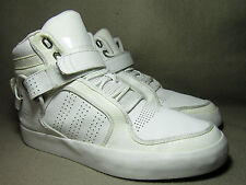 VGC ADIDAS ADI RISE 2.0 Men's Triple White Leather Hi-Top Trainers UK 8/EU 42