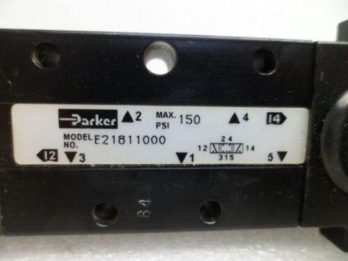 PARKER E21811000 HAND LEVER VALVE AIR//PNEUMATIC SPRING RETURN TO CENTER N.O.S