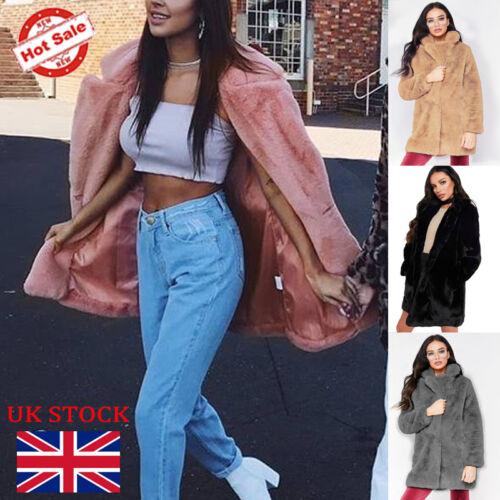 Women Teddy Bear Faux Fur Long Coat Jacket Fluffy Warm Oversized Parka Size 6-20