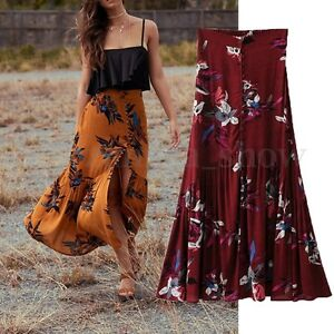 AU-Women-Summer-High-Split-Boho-Floral-Beach-Print-A-Line-Dress-Long-Maxi-Skirts