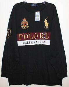 Polo-Ralph-Lauren-Big-Tall-Mens-2XLT-Black-Gold-Crest-Big-Pony-T-Shirt-NWT-2XLT
