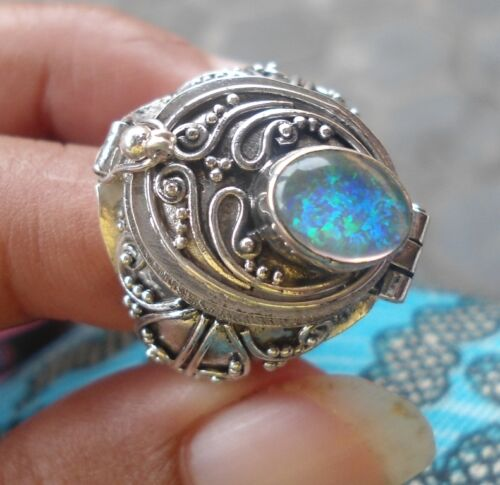 925 Sterling Silver-LL04-Bali Carved Poison/Wish Locket Ring & Opal Size 6