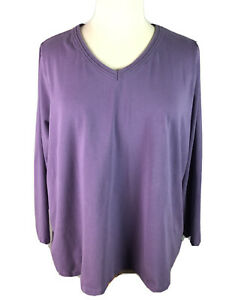Denim-and-Co-Womens-Size-3X-Purple-Top-Long-Sleeve-V-Neck-Cotton-Stretch