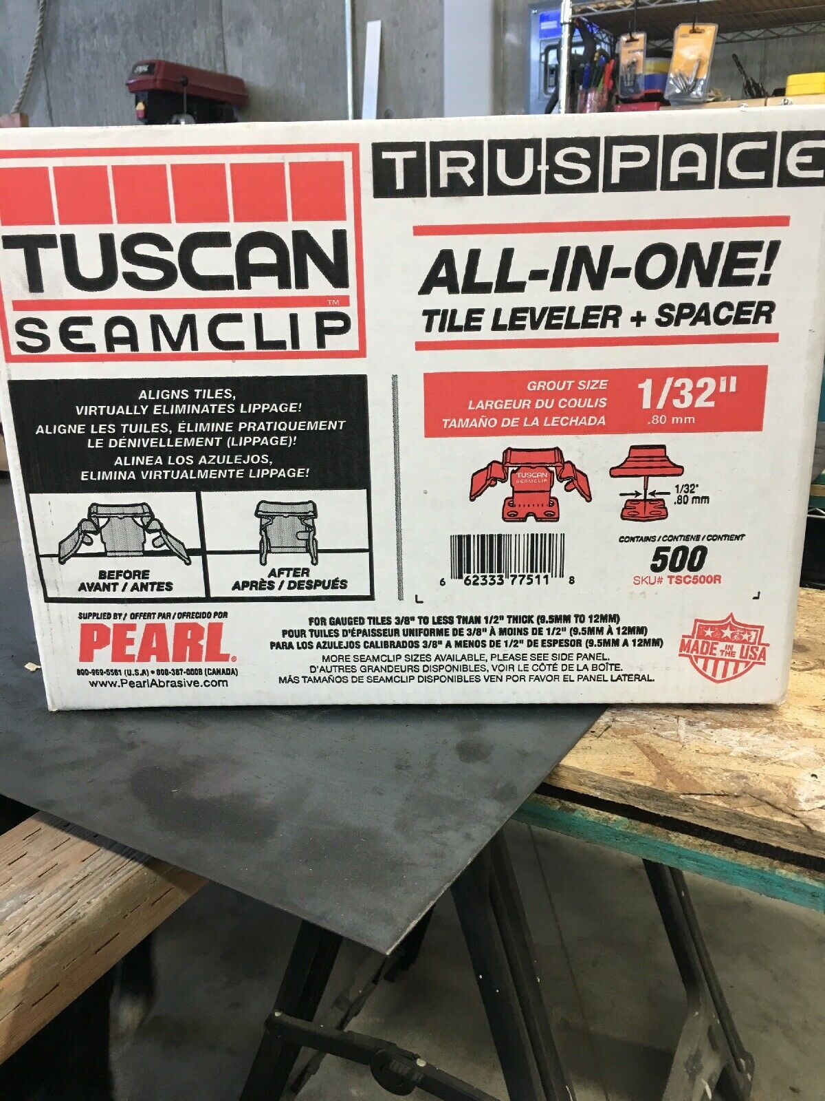 Tuscan TruSpace Red Seam Clips, Tile Flooring Leveling System, 500 box