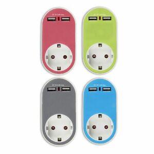 USB-Steeckdose-Steckdosen-Adapter-2-USB-Ladeanschluesse-verschiedene-Farben