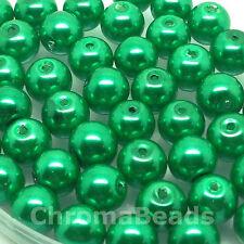 8mm Glass faux Pearls - Emerald Green (50 beads), pearl bead, jewellery making