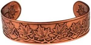 Solid-Copper-Bracelet-Maple-Leaf-Cuff-Handmade-Jewelry-Arthritis-Pain-Relief-New