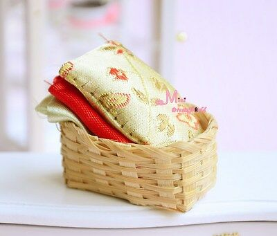 Bamboo basket  Sewing Cloth Ornament 1/12 Dollhouse Miniature HS31