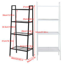 4 Tier Bookcase Bookshelf Leaning Wall Shelf Ladder Storage Display Rack  Stand
