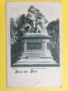 cpa-SUISSE-GRUSS-aus-BASEL-Souvenir-de-BALE-Strassburger-Denkmal