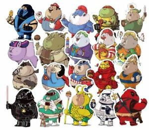 Superheroes-Funny-Plump-Characters-Assorted-Decals-Lot-of-32-Stickers