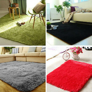 Image Is Loading Fluffy Anti Skid Shaggy Area Rug Dining Living
