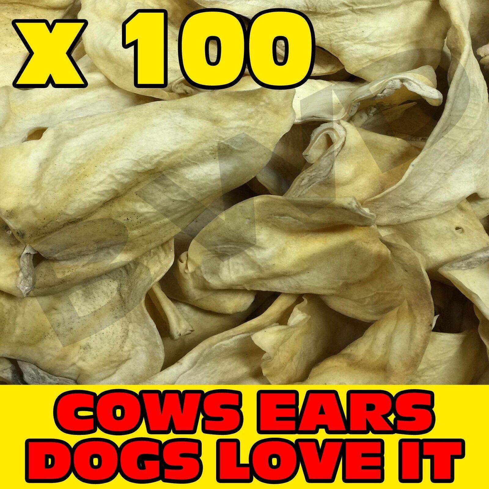 100 x TASTY COW COWS BEEF EAR EARS DOG PET TREAT CHEW SNACK - VALUE