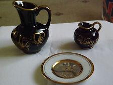 Pair of Black Jugs with Raised Floral Gold design Trim  & Art of Chokin Pin Dish