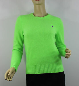 Ralph Lauren Polo Sweater Womens Small Lime Green Purple Pony ...