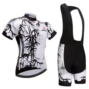 Bib Men/'s Short Sleeve Cycle Jersey and Padded Shorts Bike Clothing Set White