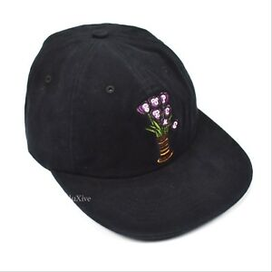 302e46b6d5d Image is loading NWT-Supreme-Black-Brushed-Cotton-Flowers-Logo-Embroidered-