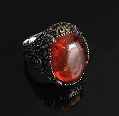 Turkish Handmade Jewelry Sterling Silver 925 Ruby Men/'s Ring 9 10 11