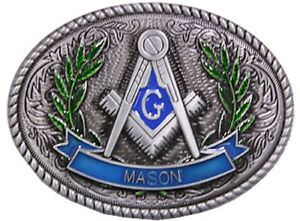 MASON-Stone-Crafters-Belt-Buckle-Masonic-Compass-Green-Olive-Branch-Leaves