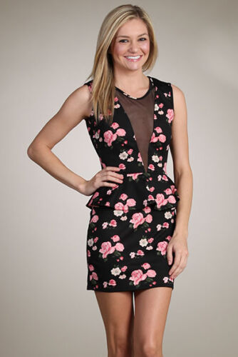 Pack GIFT Tea Party Actress Formal Floral Print Mesh Low Back Peplum Dress S//M//L