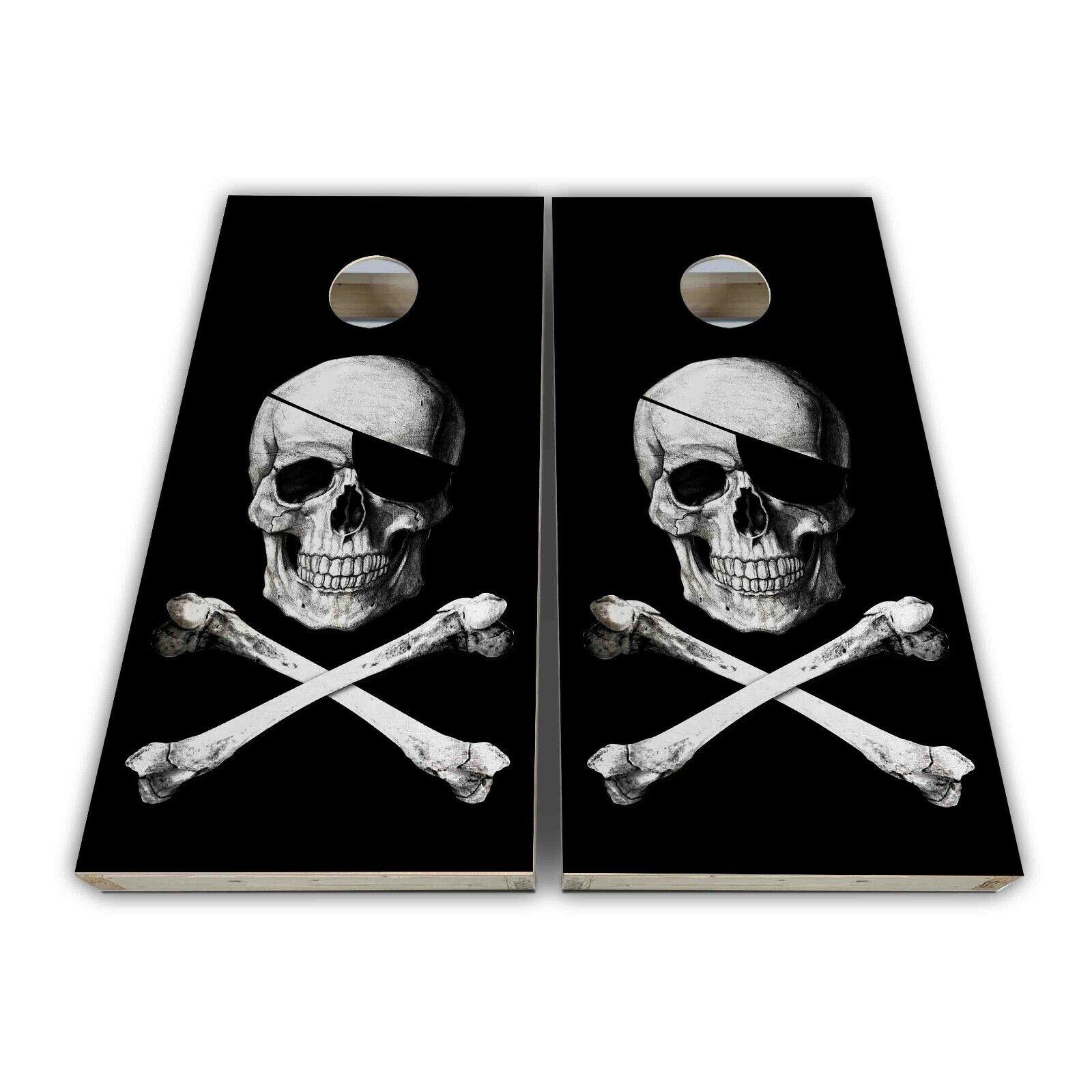 Pirate  Skull Cross Bones Cornhole Decal Laminated Vinyl 3M Cornhole Wrap SET  official authorization