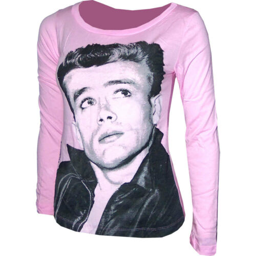 James Dean Womens Ladies Girls Long Sleeve Pink T-Shirt Size S Small NEW!