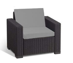Détails sur Keter Allibert California Cushion Pads rotin mobilier de jardin  fauteuil Gris- afficher le titre d\'origine