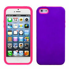 For iPhone 5 5S SE HARD Hybrid Rubber Silicone Case Phone Cover Purple Pink