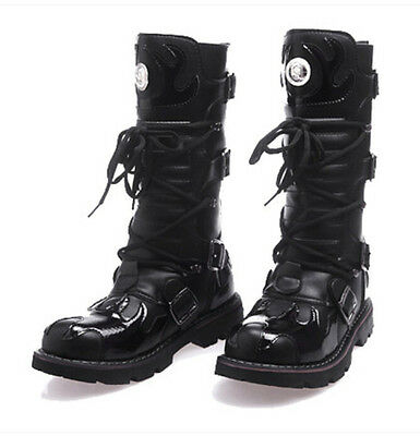 New Arrive Mens Punk Lace Up Knee HIgh Boot Gothic Chunky Heels Motorcycle Shoes