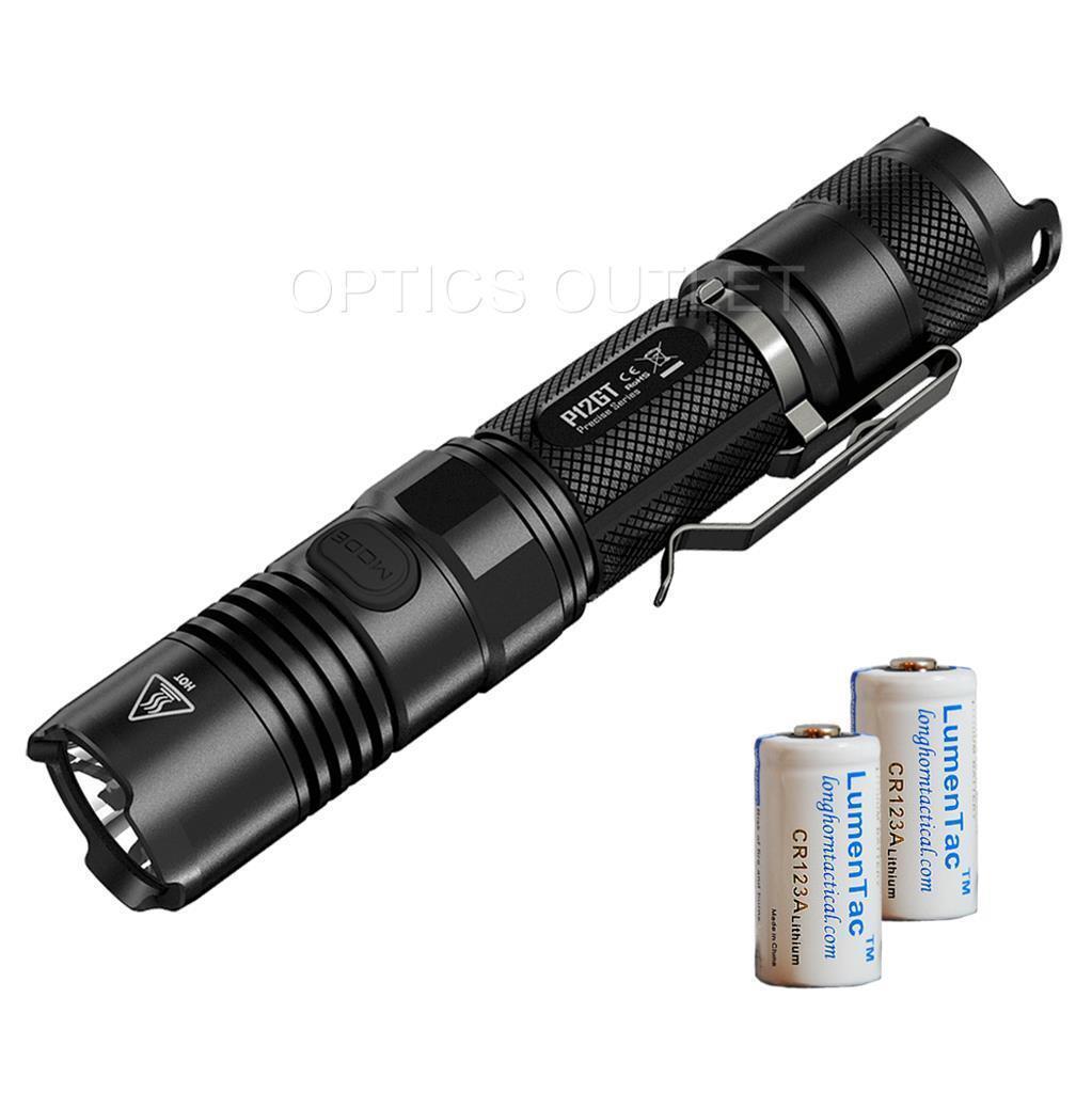 NiteCore P12GT 1000 Lumen 400 yard LED Flashlight w 2 x CR123A Batteries