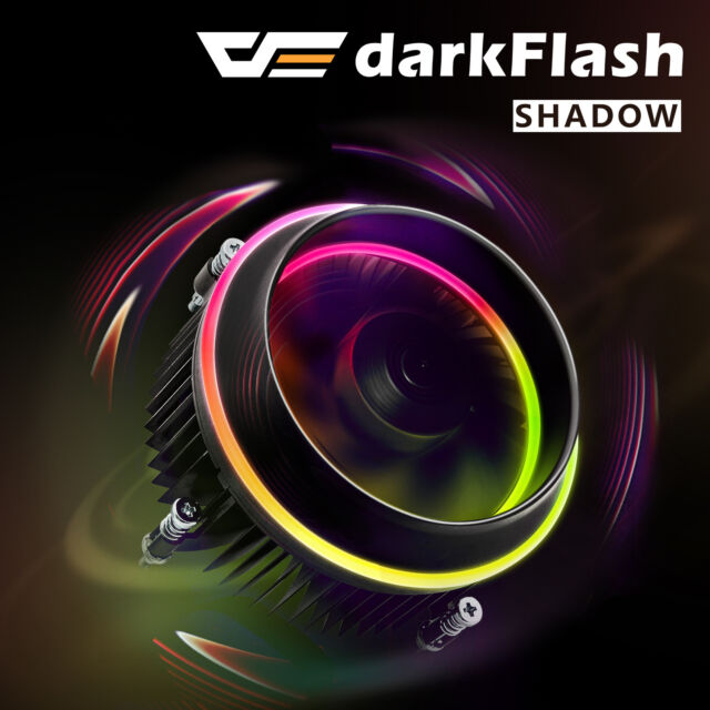 darkFlash Shadow PWM Aluminum CPU Cooler LED RGB Motherboard Control Cooling Fan