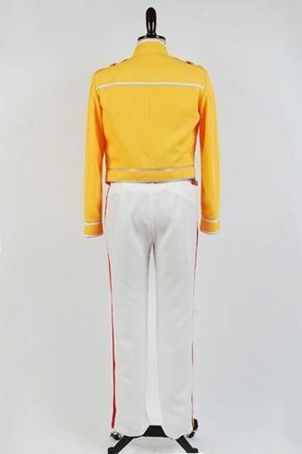 Queen Lead Vocals Freddie Mercury Wembley On Stage Cosplay Costume Yellow Jacket