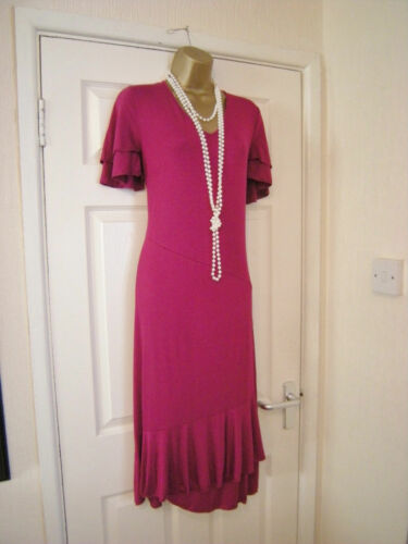 10 MAGENTA MIDI DRESS COOL STRETCH VISCOSE DAXON COMFORTABLE WEDDING HOLIDAY NEW