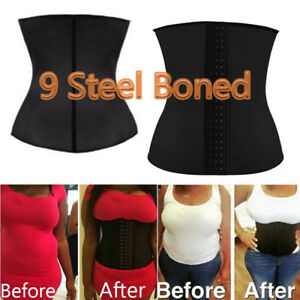 d55fa2ef8a2 9 Spiral Steel Bone Waist Trainer Cincher Corset Fat Burn Body ...