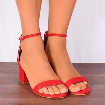 Qualità Al 100% Red Basso Con Tacco Peep Toes Cinturino Alla Caviglia Sandali Cinturino Tacchi Scarpe Taglia 3 4 5 6 7-mostra Il Titolo Originale