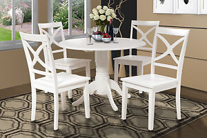 42 Round Dinette Kitchen Dining Room Table Set W 9 Drop Leaf In