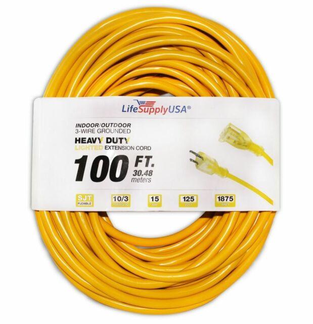 10//3 75ft SJTW Lighted End Extension Cord 15 Amp 300 Volt 1875 Watt 75 feet